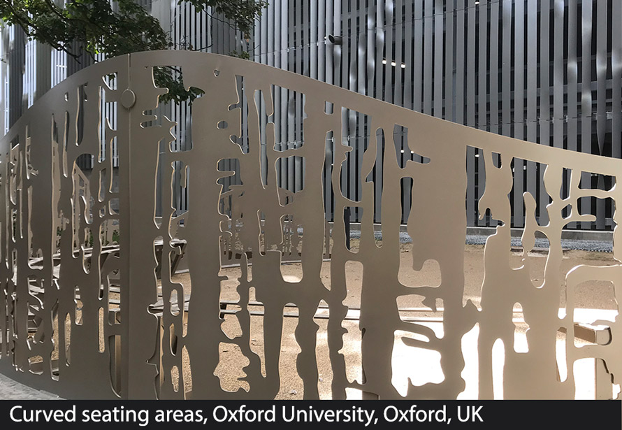 Curved fretwork seating Oxford University