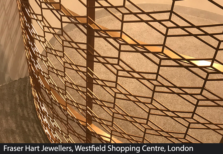 Curved laser cut screens Fraser Hart Jewellers