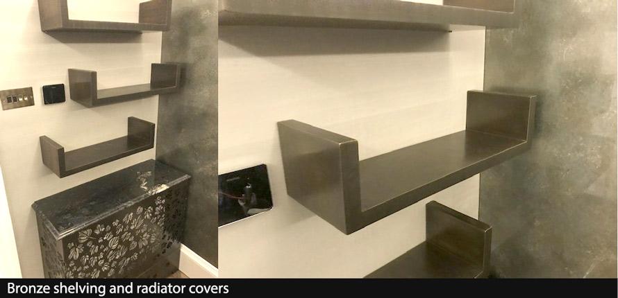 Bronze shelving and bronze radiator covers