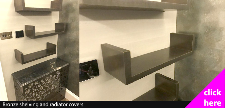Bronze shelving and brass radiator covers