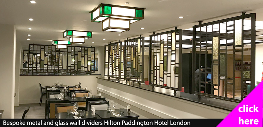 Glass and metal room dividers Hilton Hotel