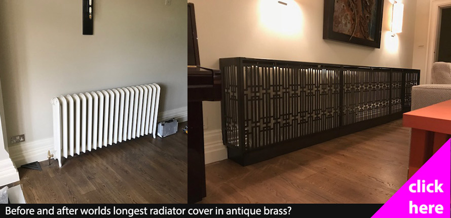 Before and after antique brass radiator cover
