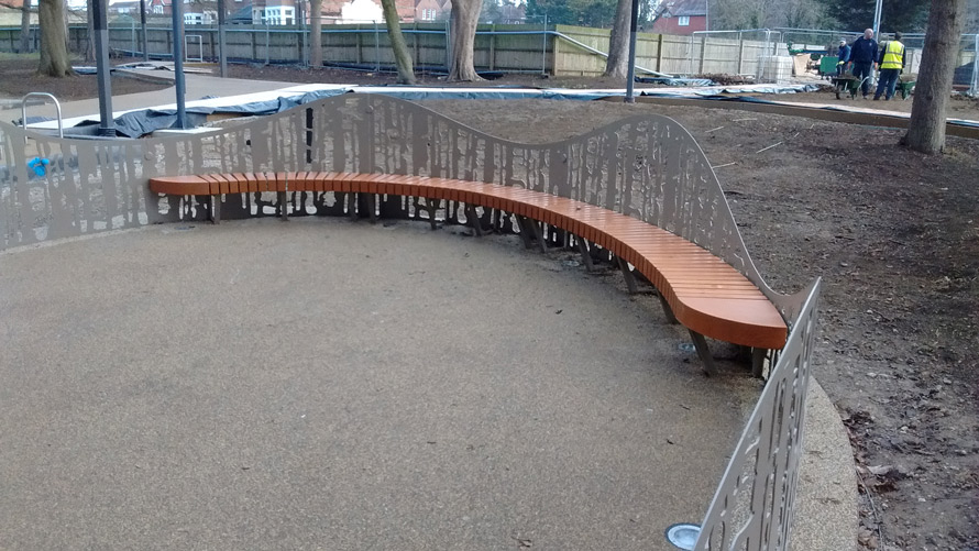 Decorative curved metal outdoor seating