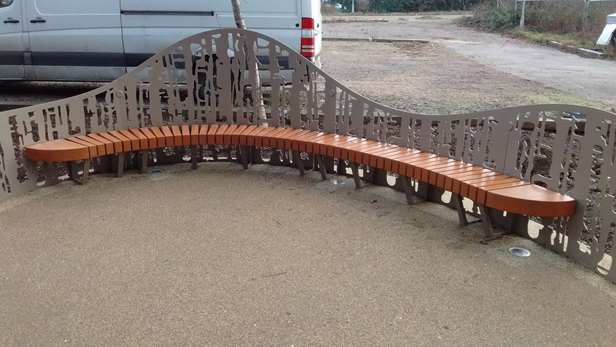 Curved laser cut seating for Oxford University