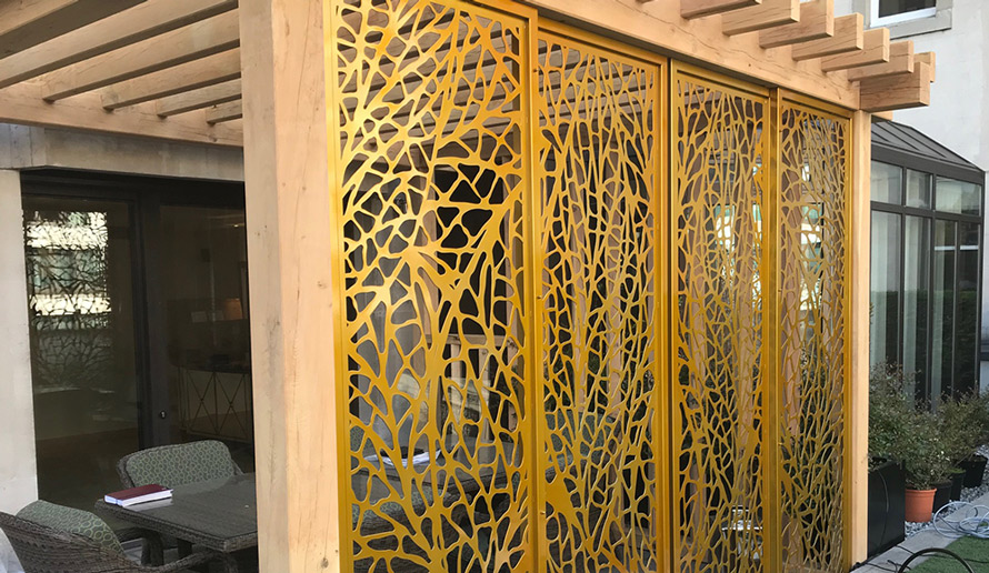 Gold garden screens in leaf pattern