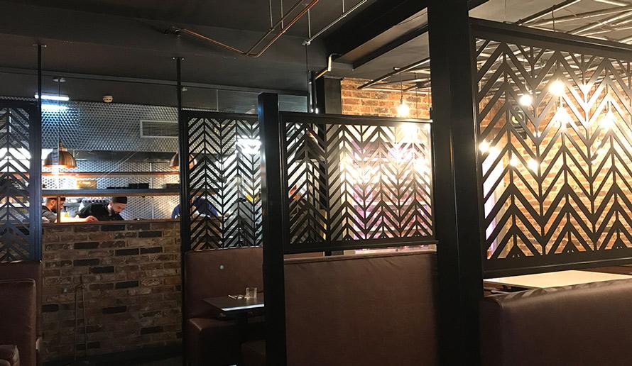 Bespoke laser cut screens kitchen servery