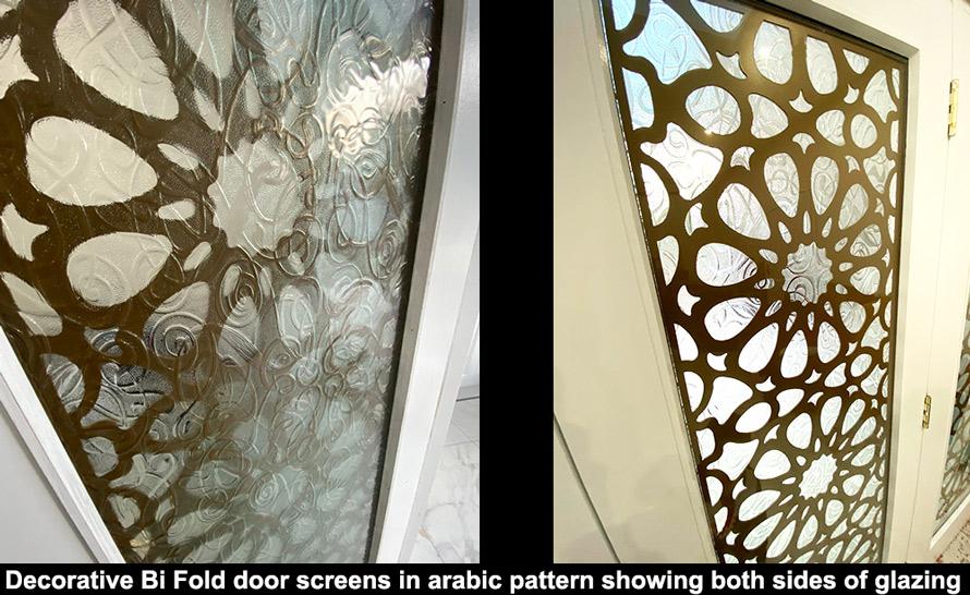 Decorartive double glazed fretwork screens in gold arabic pattern