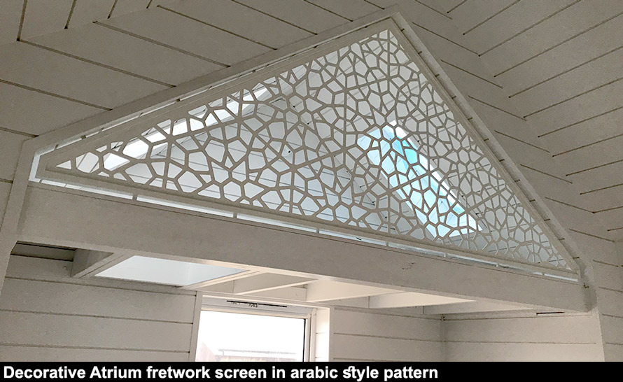 Bespoke fretwork metal atrium screen arabic style