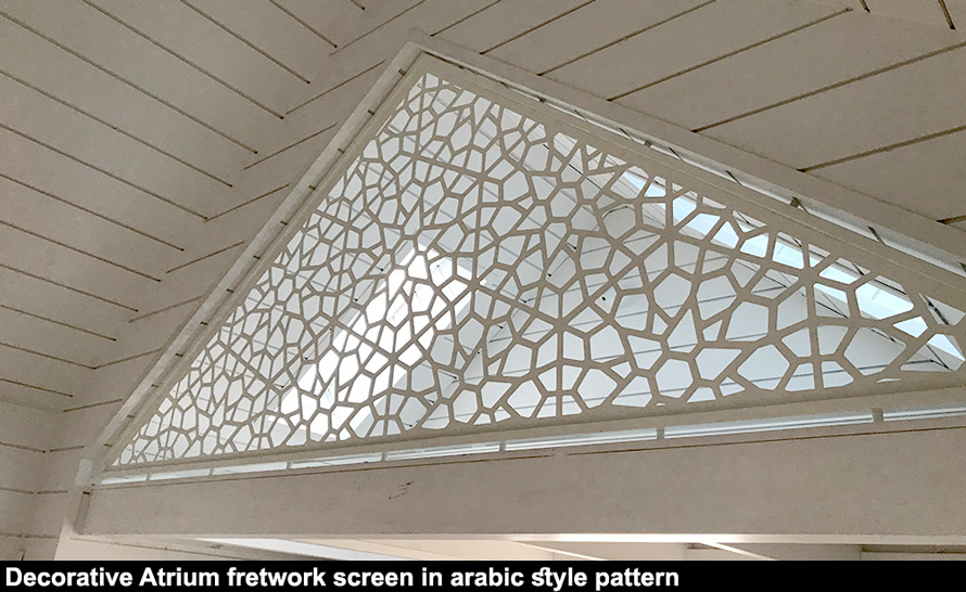 Beautiful atrium fretwork design in arabic pattern