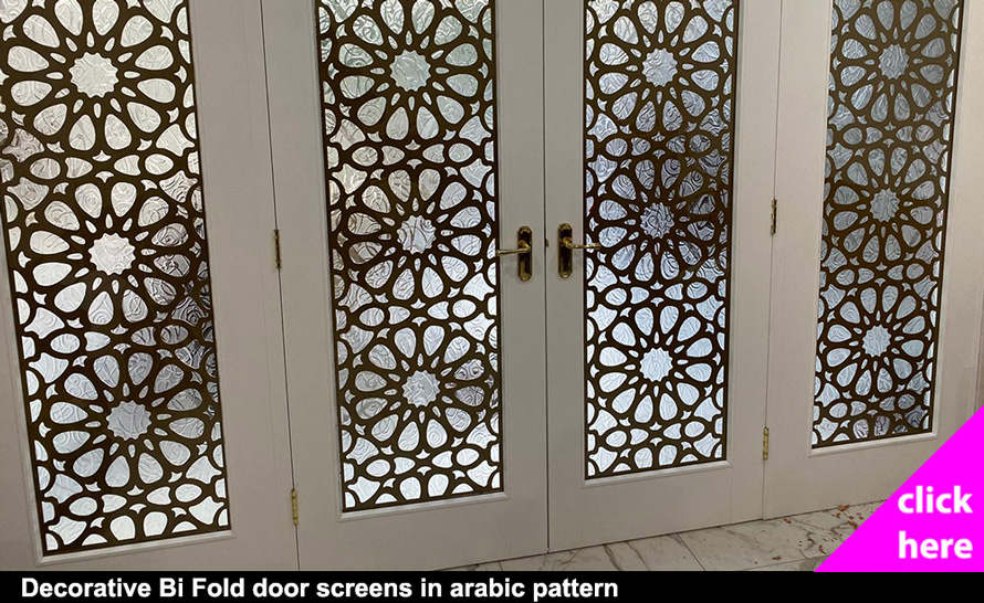Decorative window screens in arabic fretwork pattern