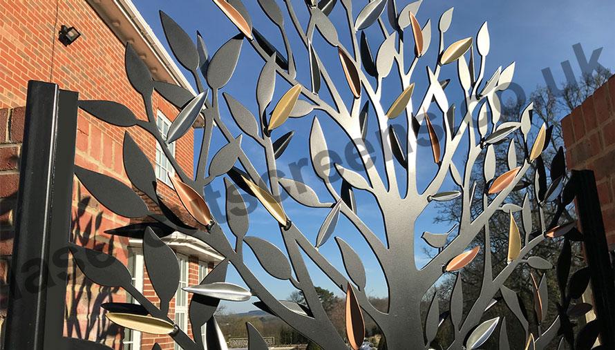 custom laser cut garden gate in tree leaf design
