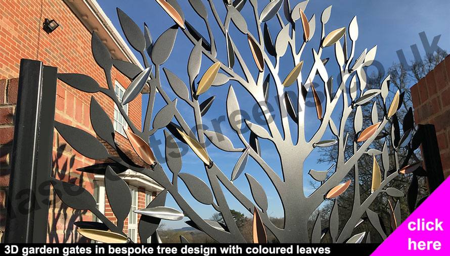 bespoke laser cut garden gate in tree leaf design