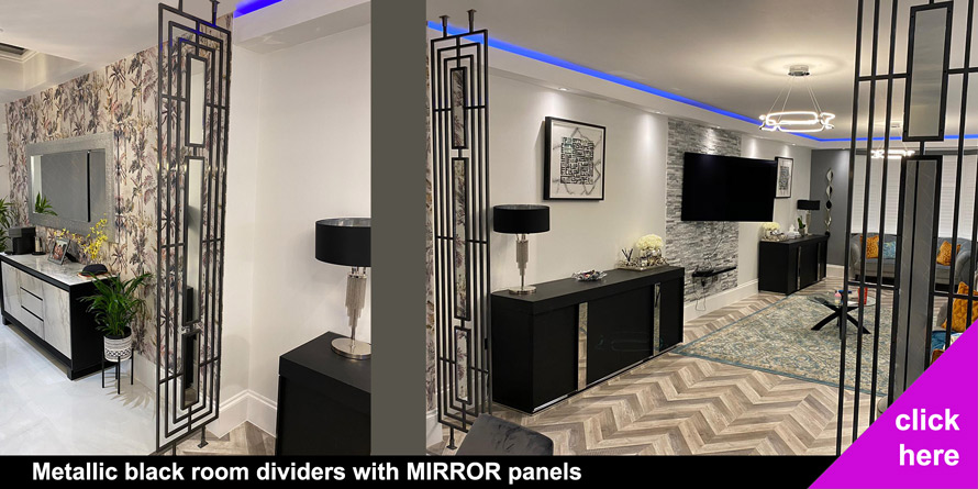 Black metallic and Mirror room partitions