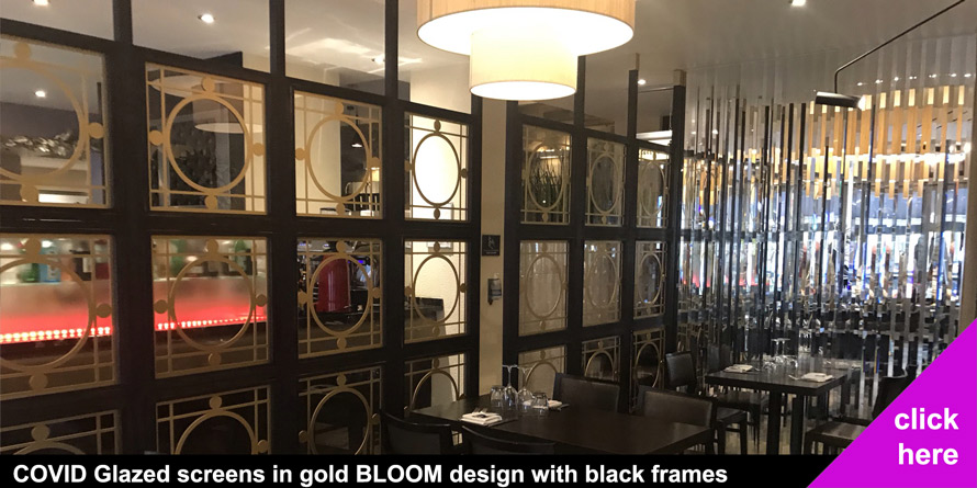 COVID restaurant screens in gold Bloom laser cut patterns