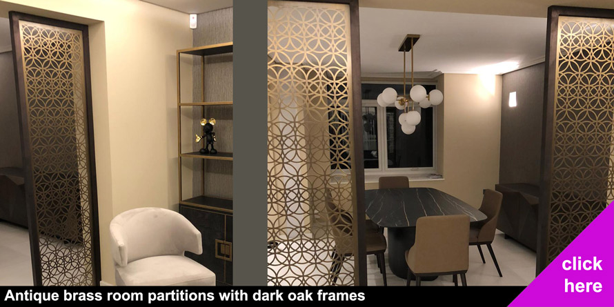 custom made antique brass room partitions
