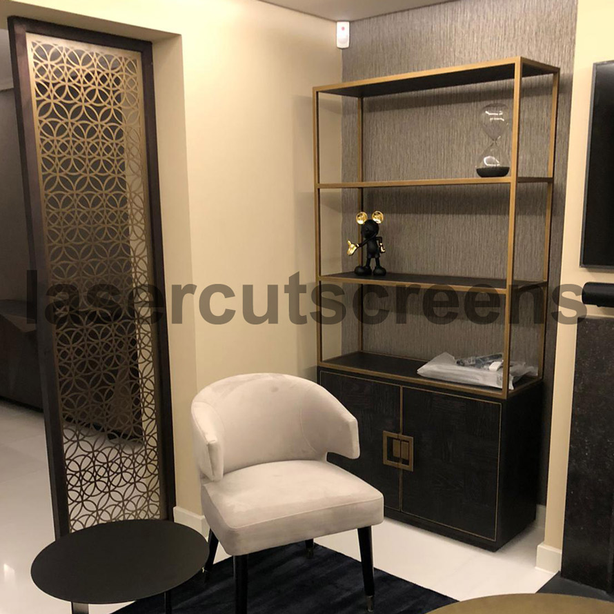 antique brass and hardwood screens