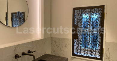Decorative bronze art deco security shutter designs
